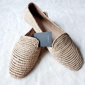 ZARA NWT nude weaved loafer flats